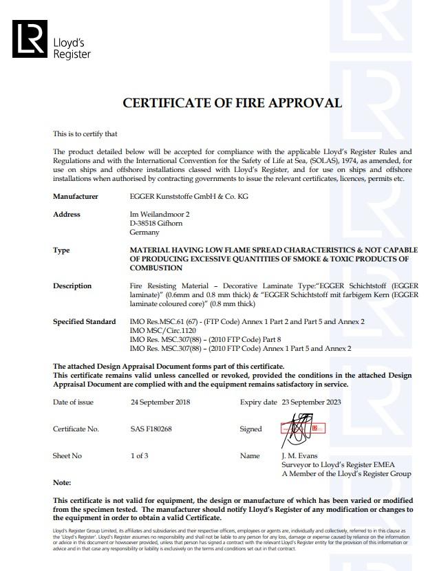 CF EGGER Laminate MED Certificate of fire approval en