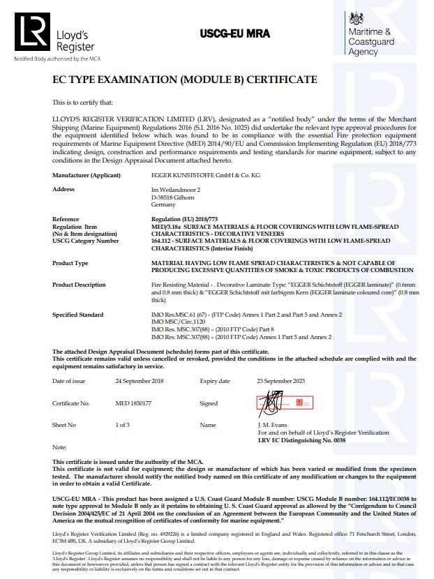 CF EGGER Laminate MED Modul B EC Type Examination Certificate en
